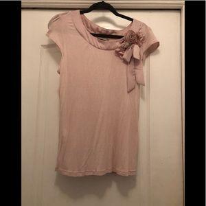 H&M pink short sleeve rose & bow embellishments